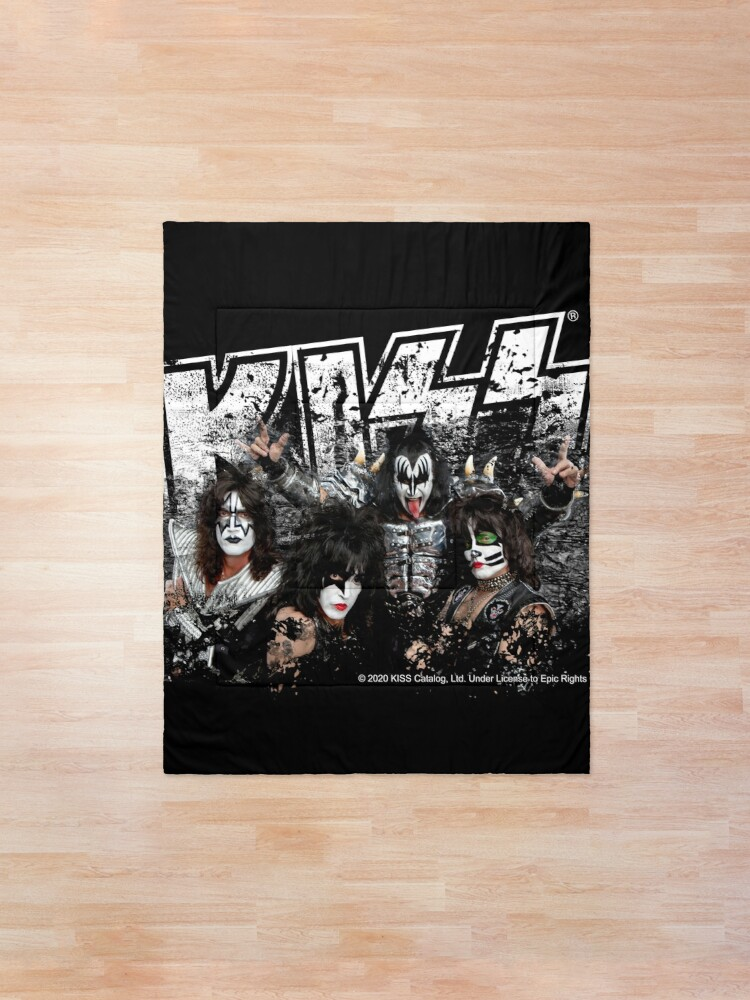 Alternate view of KISS rock music band - Black White Effect Logo and All Membersk music band  Comforter