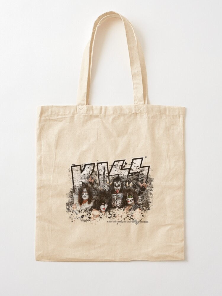 Alternate view of KISS rock music band - Black White Effect Logo and All Membersk music band  Tote Bag