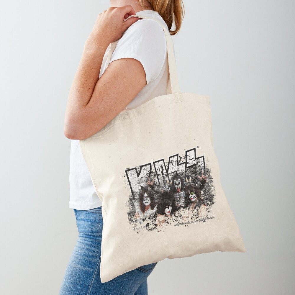 KISS rock music band - Black White Effect Logo and All Membersk music band  Tote Bag