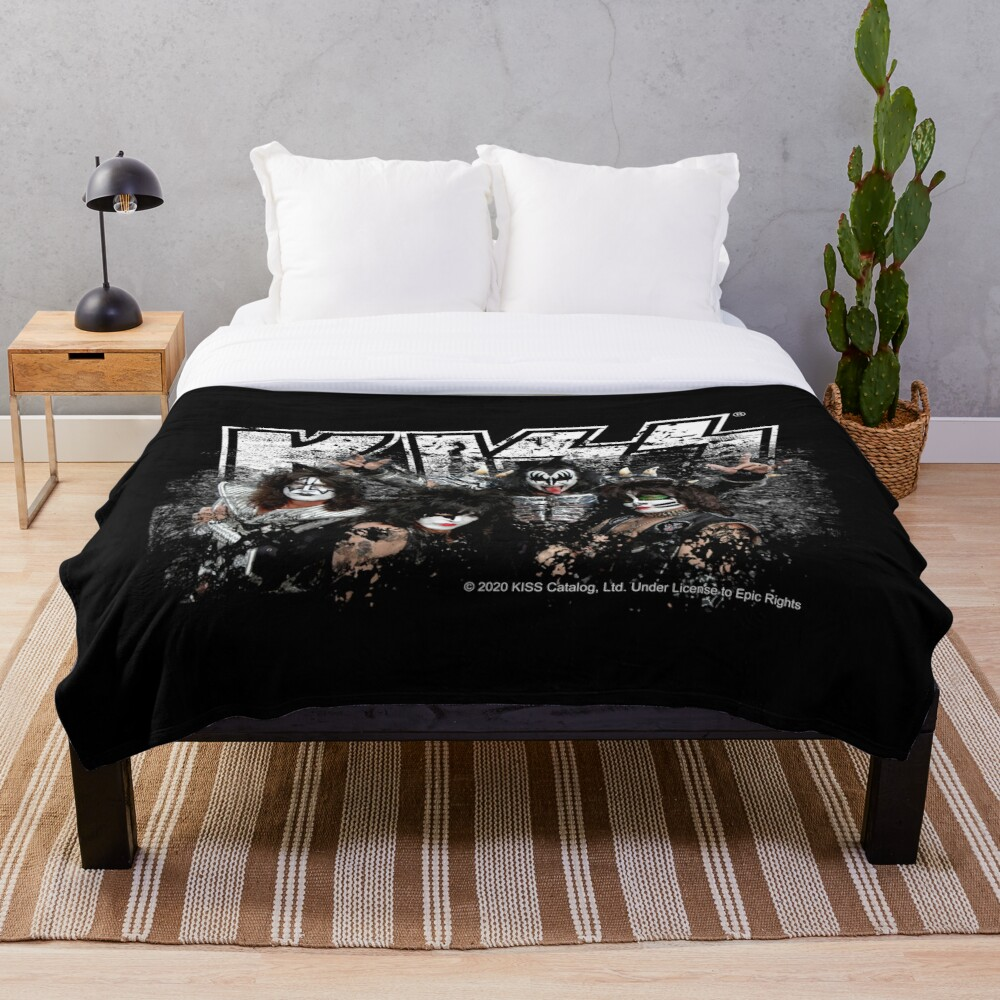 KISS rock music band - Black White Effect Logo and All Membersk music band  Throw Blanket