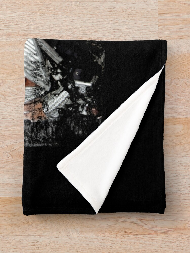 Alternate view of KISS rock music band - Black White Effect Logo and All Membersk music band  Throw Blanket
