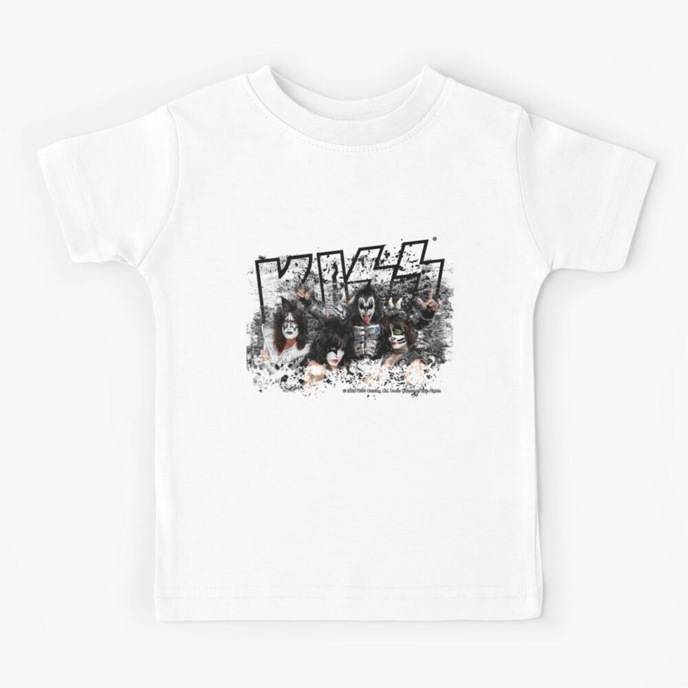 KISS rock music band - Black White Effect Logo and All Membersk music band  Kids T-Shirt