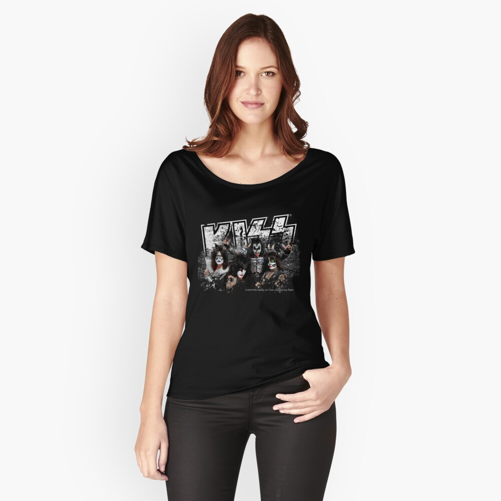 KISS rock music band - Black White Effect Logo and All Membersk music band  Relaxed Fit T-Shirt