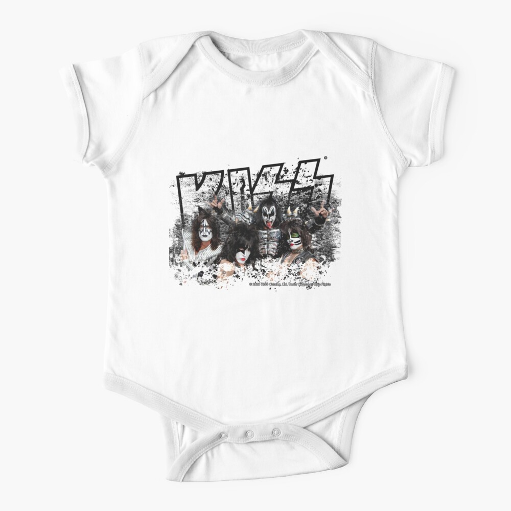 KISS rock music band - Black White Effect Logo and All Membersk music band  Baby One-Piece