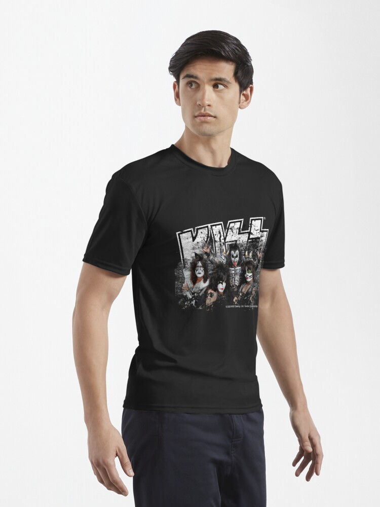 Alternate view of KISS rock music band - Black White Effect Logo and All Membersk music band  Active T-Shirt