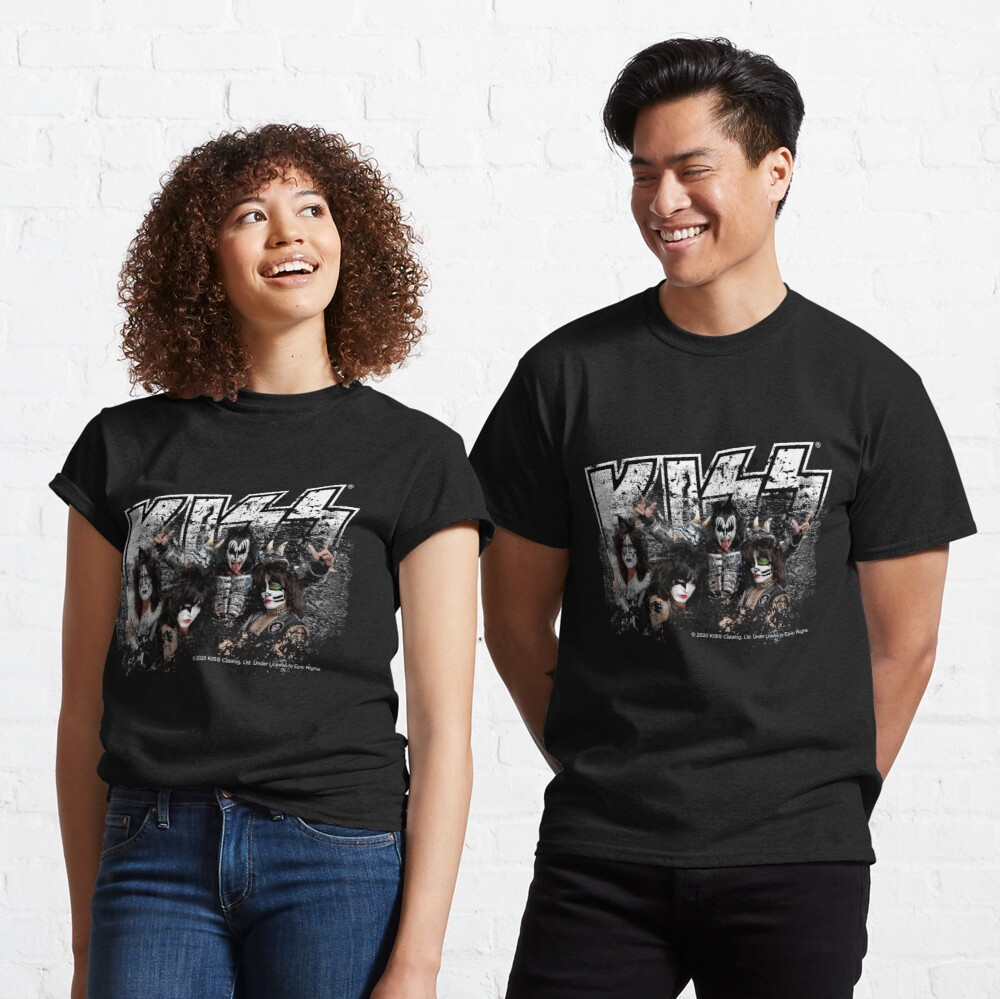 KISS rock music band - Black White Effect Logo and All Membersk music band  Classic T-Shirt