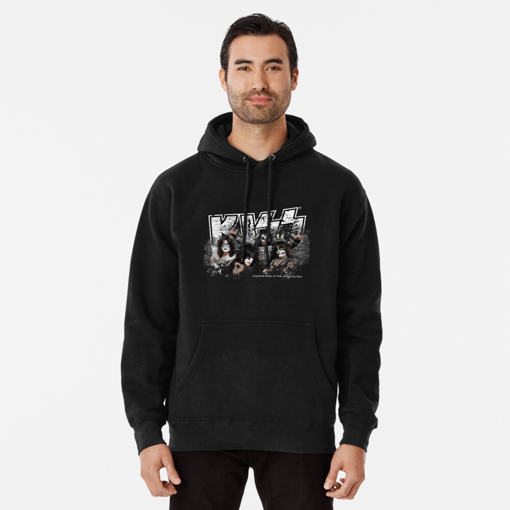 KISS rock music band - Black White Effect Logo and All Membersk music band  Pullover Hoodie