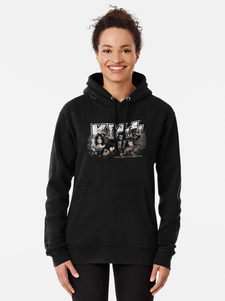 Alternate view of KISS rock music band - Black White Effect Logo and All Membersk music band  Pullover Hoodie