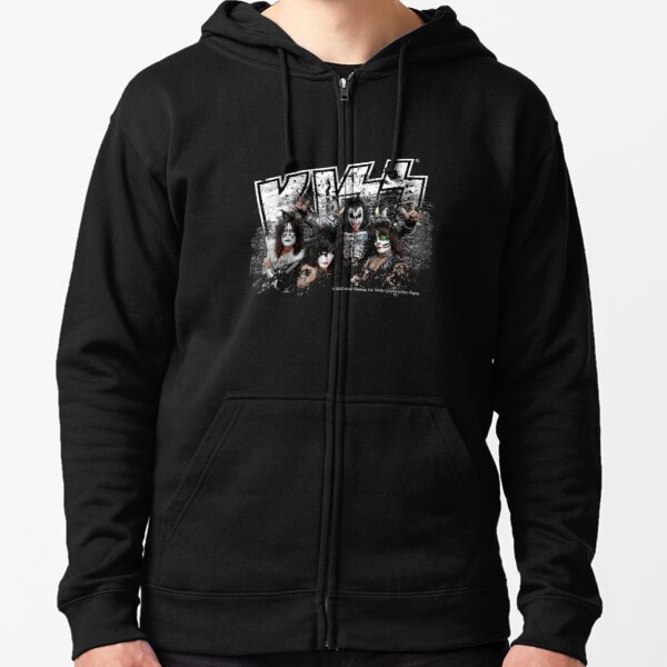 KISS rock music band - Black White Effect Logo and All Membersk music band  Zipped Hoodie