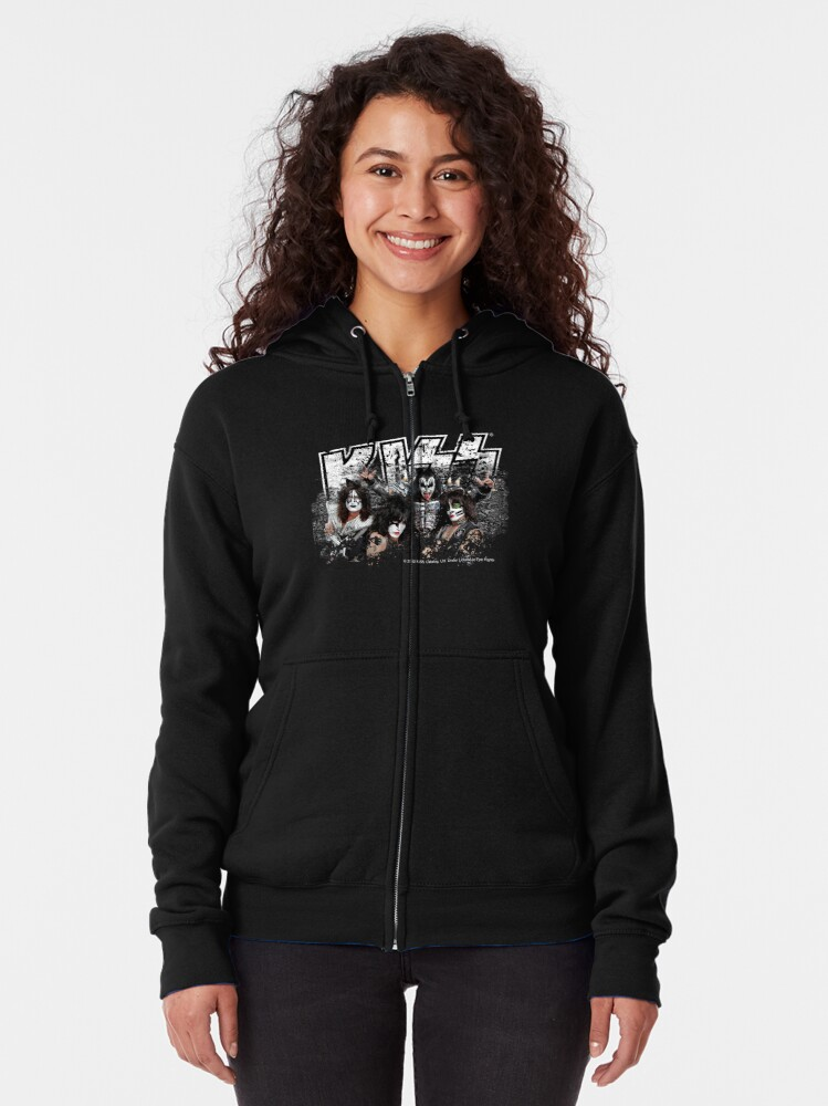 Alternate view of KISS rock music band - Black White Effect Logo and All Membersk music band  Zipped Hoodie