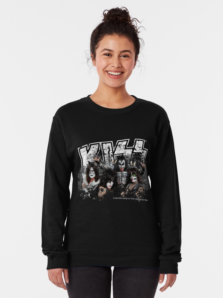 Alternate view of KISS rock music band - Black White Effect Logo and All Membersk music band  Pullover Sweatshirt