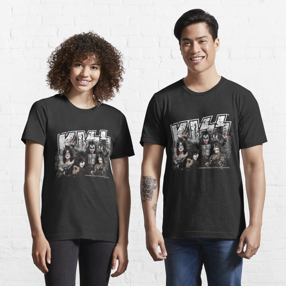 KISS rock music band - Black White Effect Logo and All Membersk music band  Essential T-Shirt
