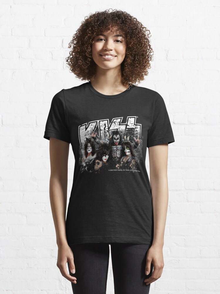 Alternate view of KISS rock music band - Black White Effect Logo and All Membersk music band  Essential T-Shirt