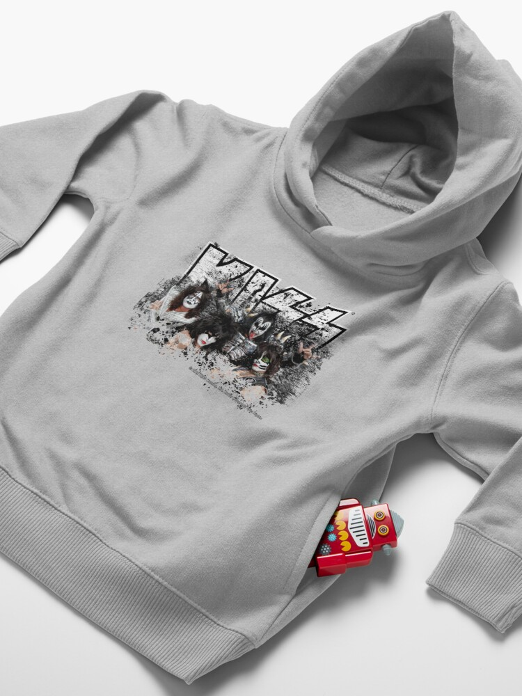 Alternate view of KISS rock music band - Black White Effect Logo and All Membersk music band  Toddler Pullover Hoodie
