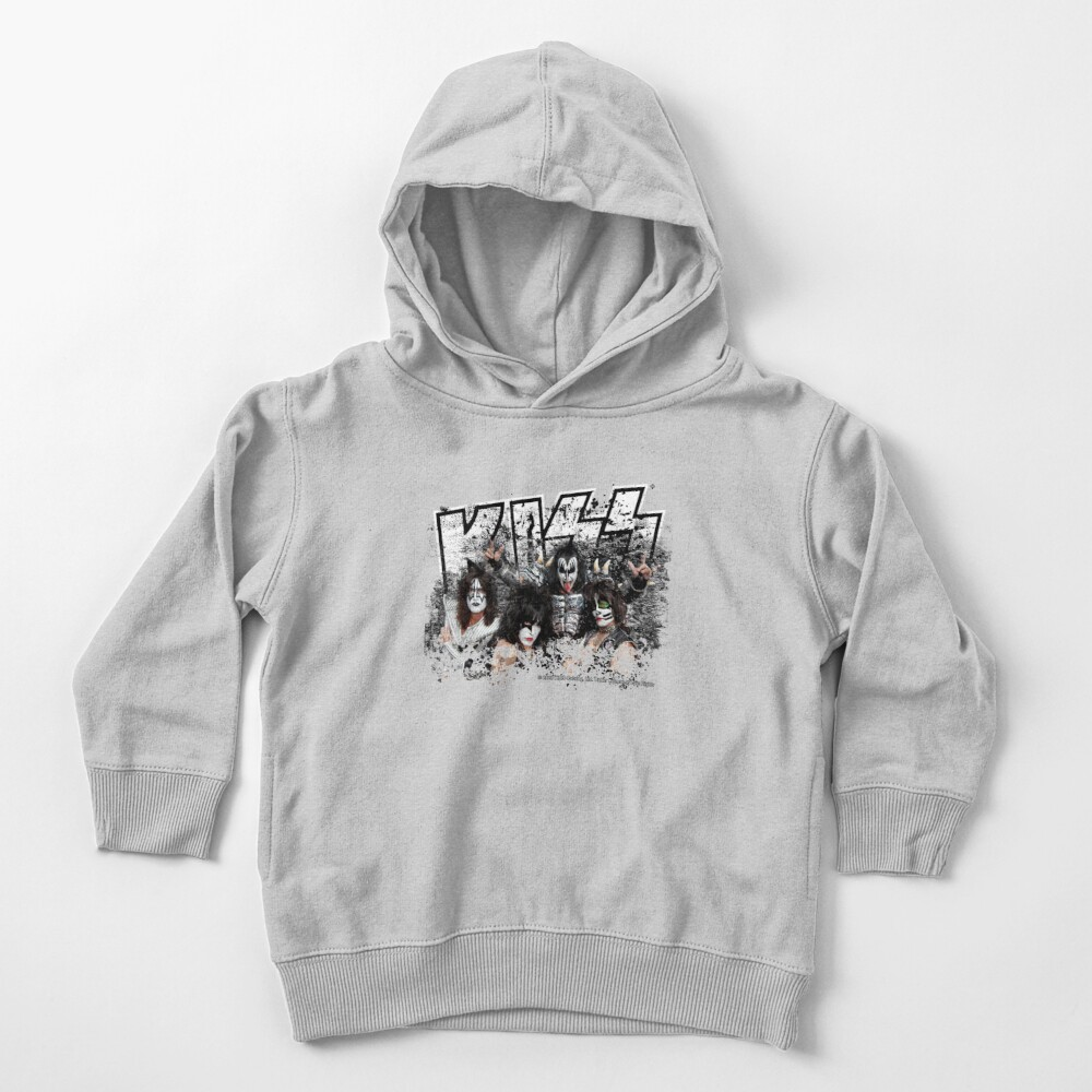 KISS rock music band - Black White Effect Logo and All Membersk music band  Toddler Pullover Hoodie
