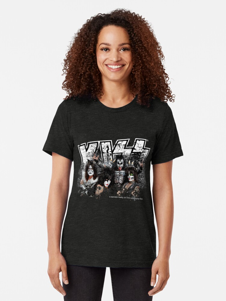 Alternate view of KISS rock music band - Black White Effect Logo and All Membersk music band  Tri-blend T-Shirt
