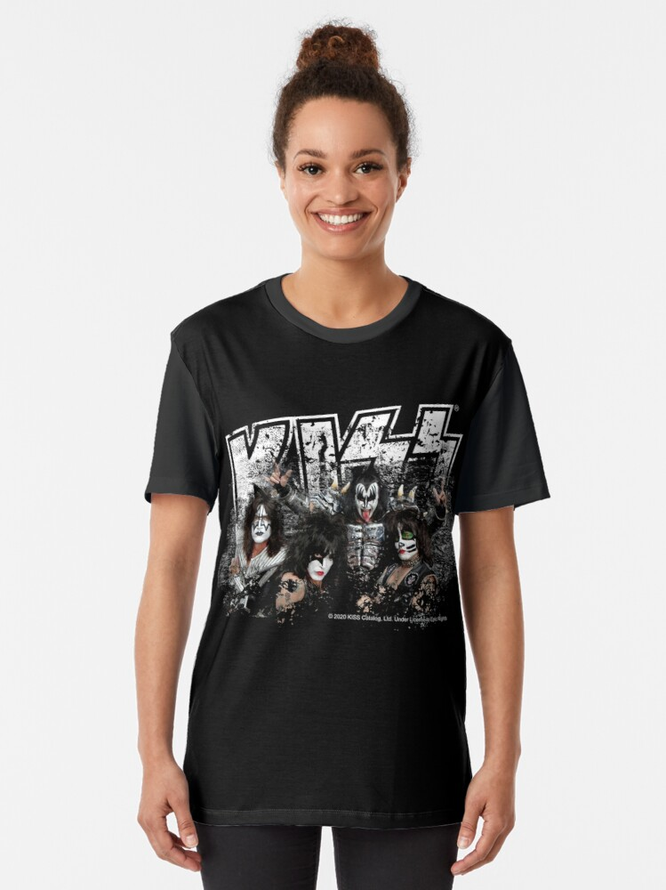 Alternate view of KISS rock music band - Black White Effect Logo and All Membersk music band  Graphic T-Shirt