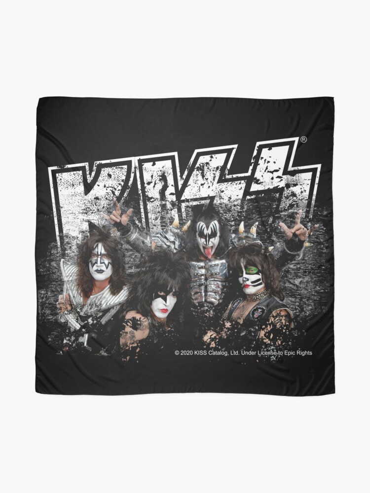Alternate view of KISS rock music band - Black White Effect Logo and All Membersk music band  Scarf