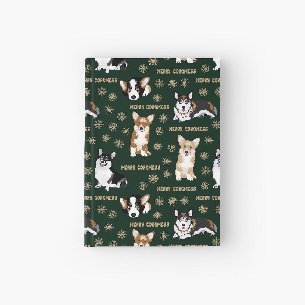 Merry Corgmess - green Hardcover Journal