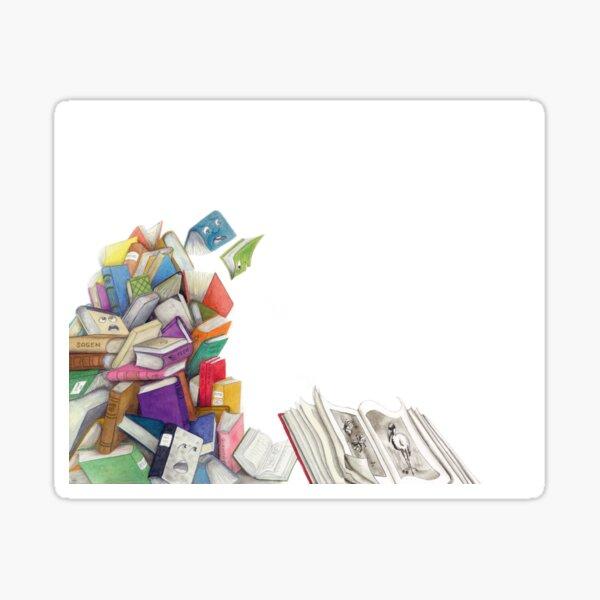 """Bücherberg –aus """"Der weiße Elf"""" Sticker"""