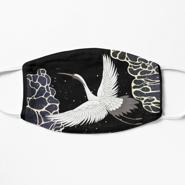 Cool Flying Japanese Chinese Crane Bird Over the Sea Flat Mask