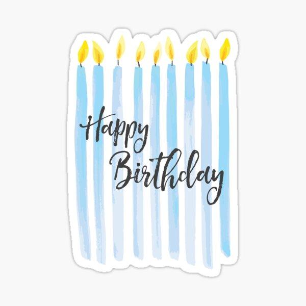 Velas de feliz cumpleaños de acuarela Pegatina