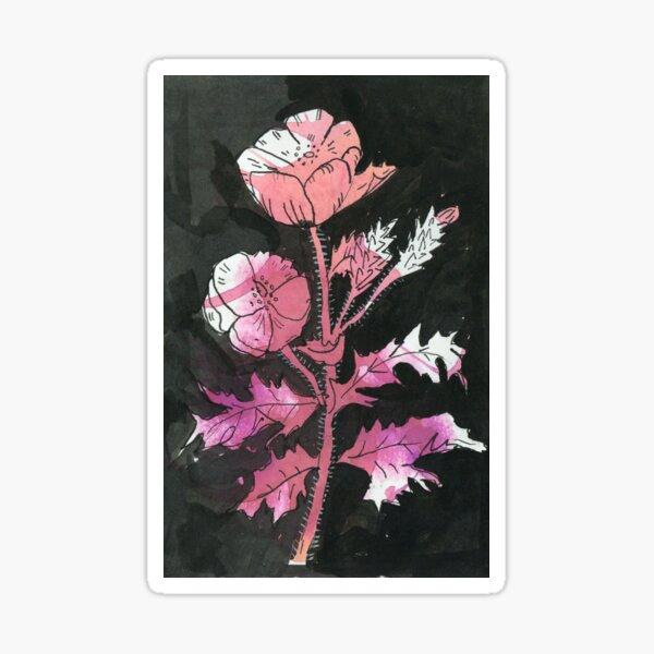 EXOTIC FLOWER STEM pink watercolour Sticker