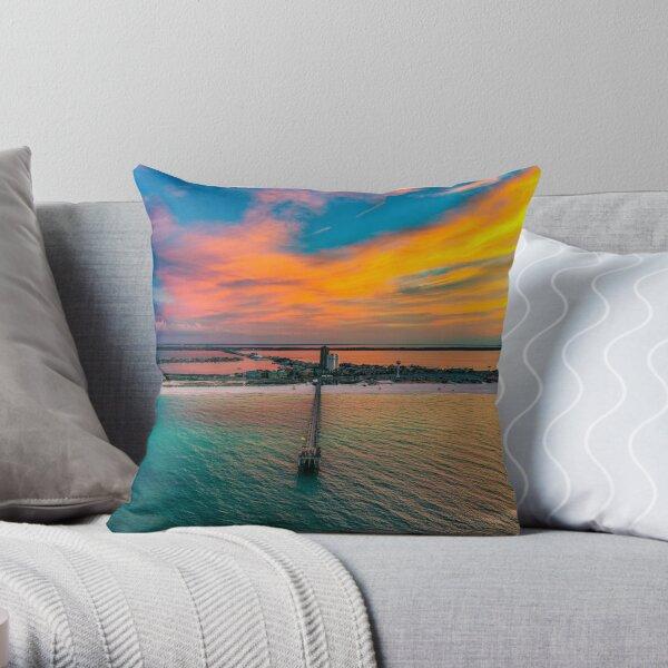 Pier Sunrise Throw Pillow