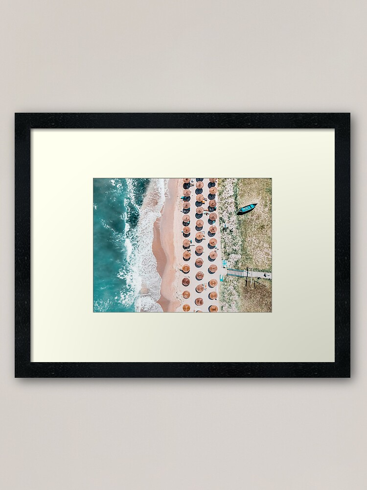 Alternate view of People On Beach, Drone Photography, Aerial Sea Photography, Ocean Wall Art Print, Framed Art Print, Ocean Waves Framed Art Print
