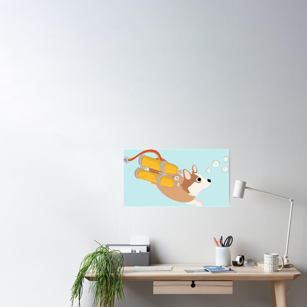 My Corgi World - Majesty Pembroke - Cute welsh cardigan corgis is diving II Poster