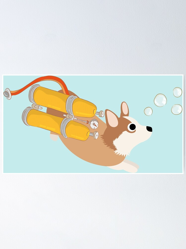 Alternate view of My Corgi World - Majesty Pembroke - Cute welsh cardigan corgis is diving II Poster