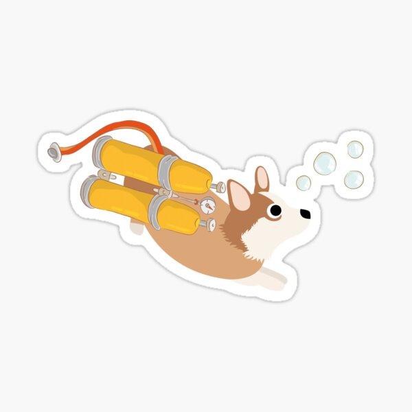 My Corgi World - Majesty Pembroke - Cute welsh cardigan corgis is diving II Sticker