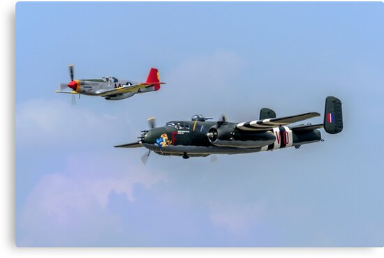 P-51C Mustang and B-25 Mitchell bomber by urbanmoon