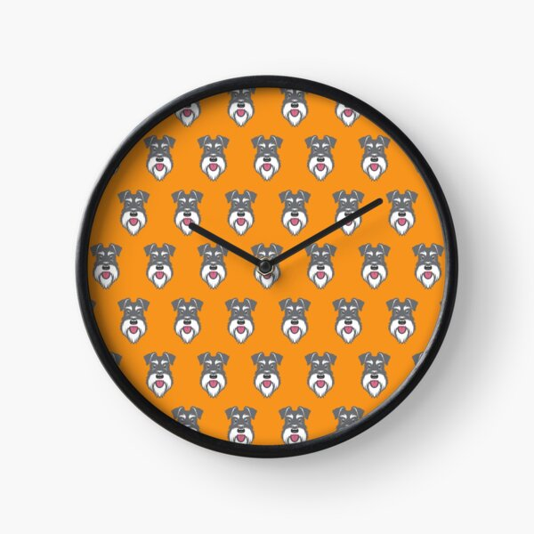 Salt & Pepper schnauzer pattern on orange background Clock