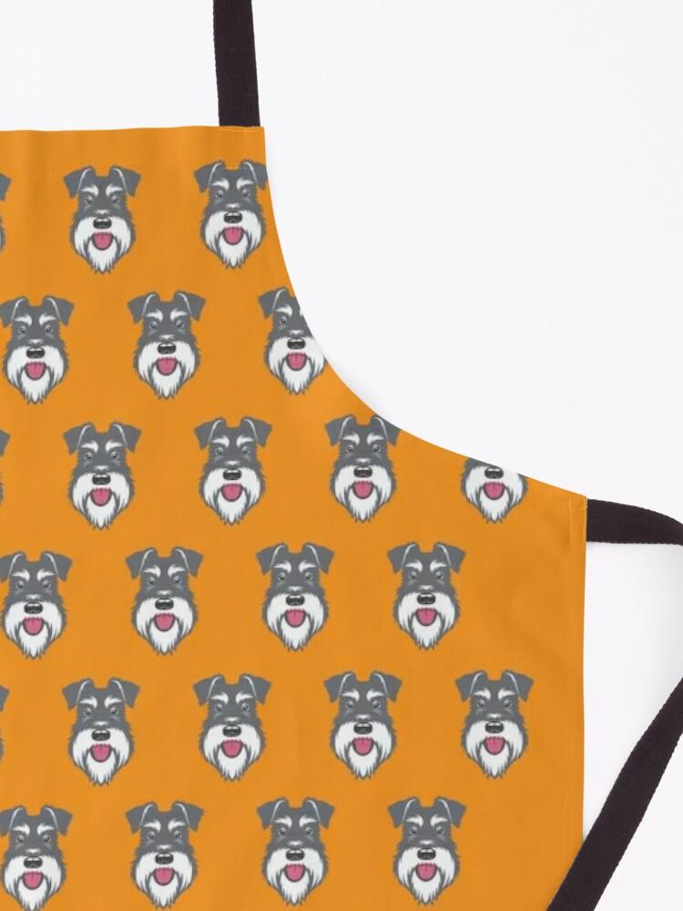 Alternate view of Salt & Pepper schnauzer pattern on orange background Apron
