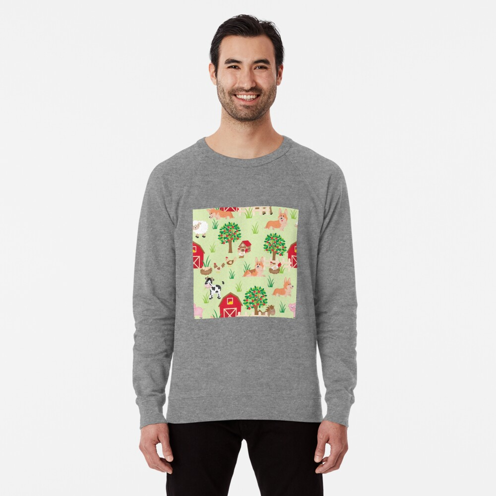 corgis on the farm Lightweight Sweatshirt