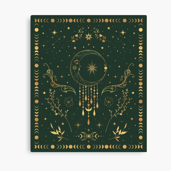 Sage green and gold Celestial crescent moon with floral accents and moon phase tie dye Canvas Print