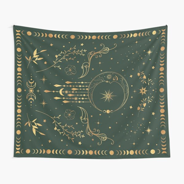 Sage green and gold Celestial crescent moon with floral accents and moon phase tie dye Tapestry
