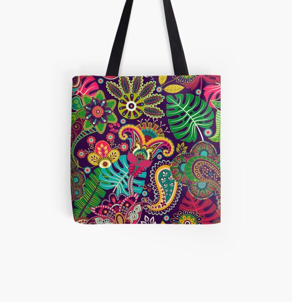 Tropical Paradise of Color in Paisley Pattern All Over Print Tote Bag