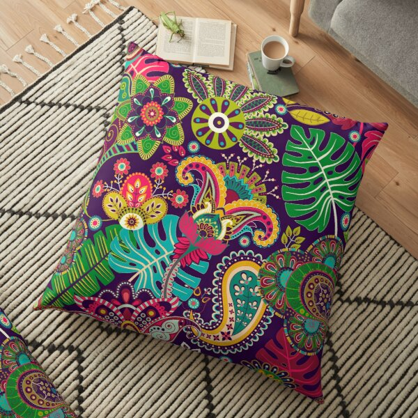 Tropical Paradise of Color in Paisley Pattern Floor Pillow