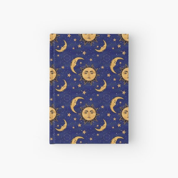 Vintage moon and sun stars celestial Hardcover Journal