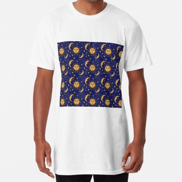 Vintage moon and sun stars celestial Long T-Shirt