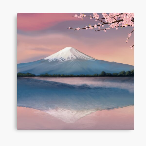 mt fuji with cherry blossoms Canvas Print