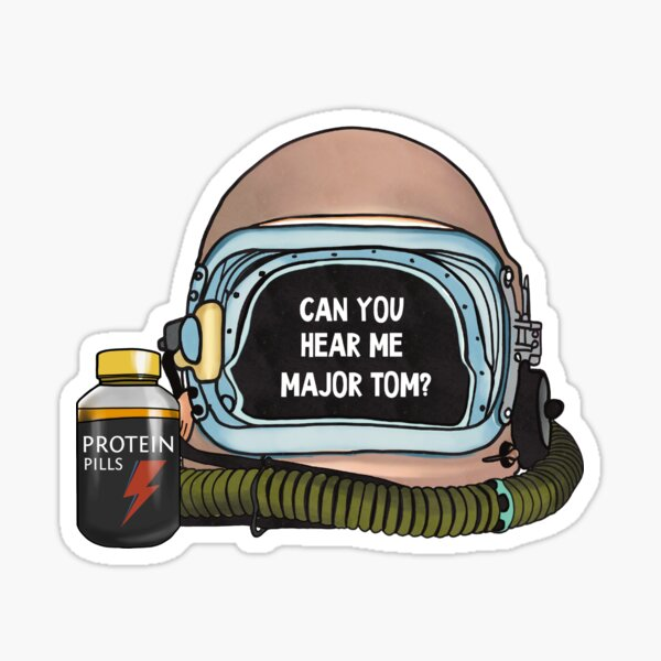 Can you hear me me Major Tom? Bowie fan artwork protein pill and helmet Sticker