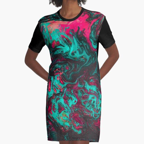 Liquid Flow Graphic T-Shirt Dress