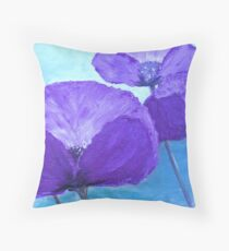 Poppies in purple Throw Pillow
