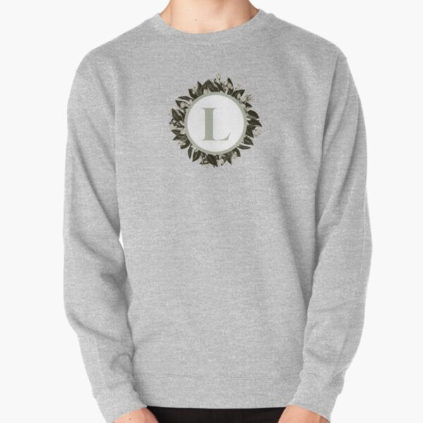 Floral alphabet in sage color - letter L Pullover Sweatshirt