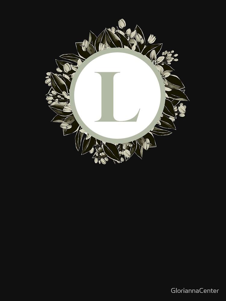 Floral alphabet in sage color - letter L by GloriannaCenter