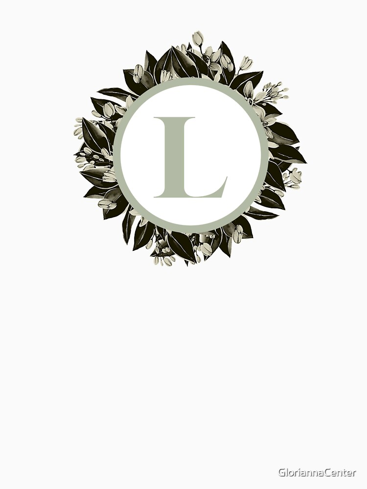 Floral alphabet in sage color - letter L by GloriannaCenter