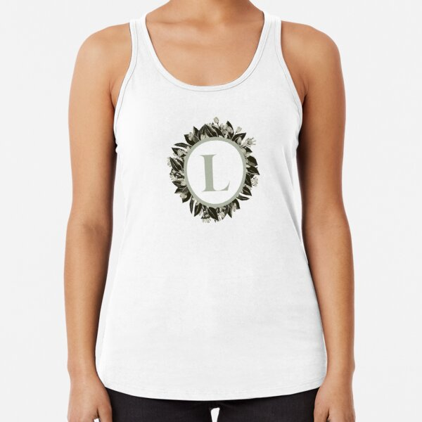 Floral alphabet in sage color - letter L Racerback Tank Top